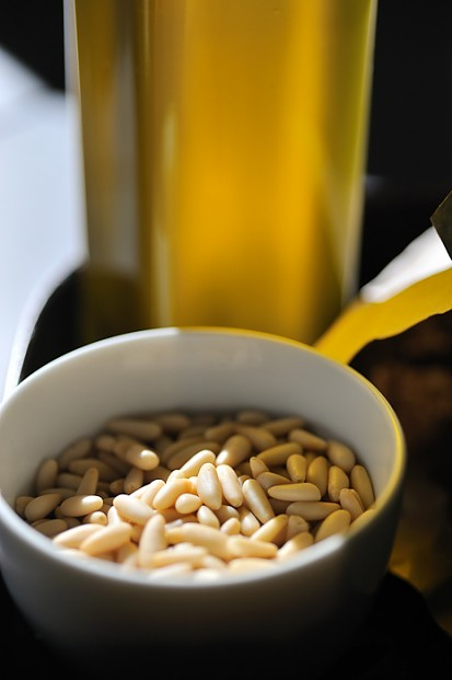 Olive oil and pine nuts